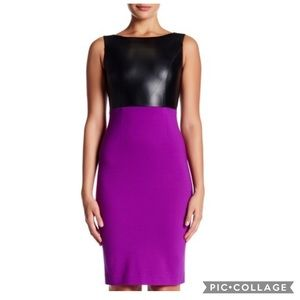 NUE BY SHANI LEATHER/BERRY DRESS